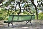 Title: The empty green bench