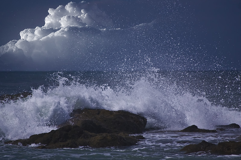 The cloud, wave and rock