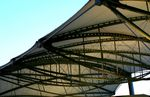 Title: a tent roof of a station