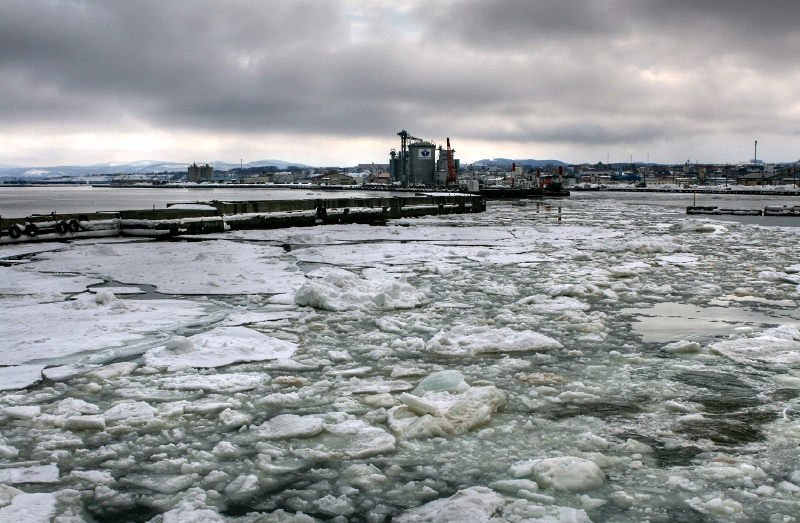 sea of floating ice in cloudy day