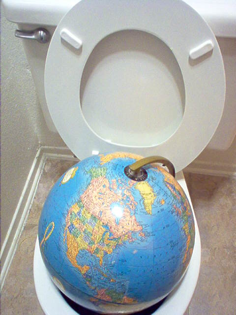 Earth in the toilet