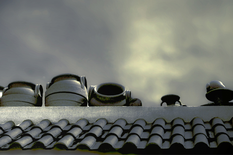 tiles and pots against the sky
