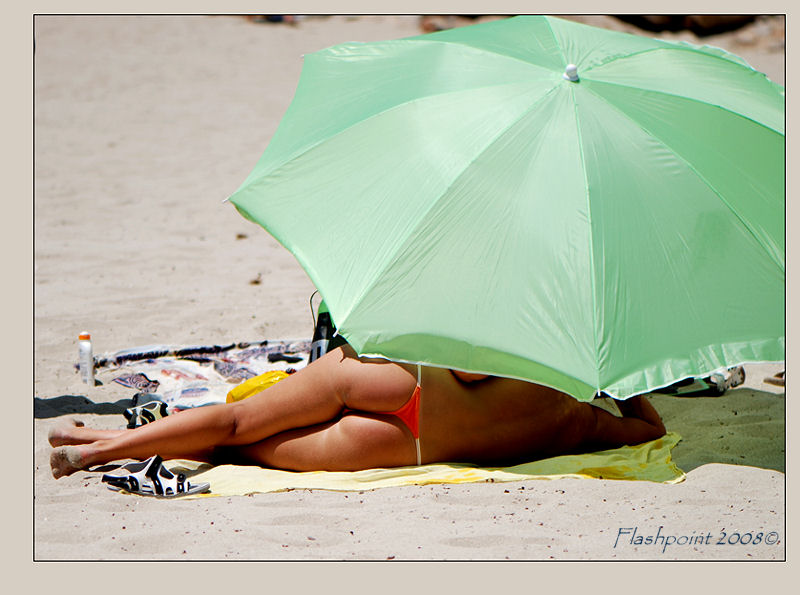 �green umbrella on the beach��