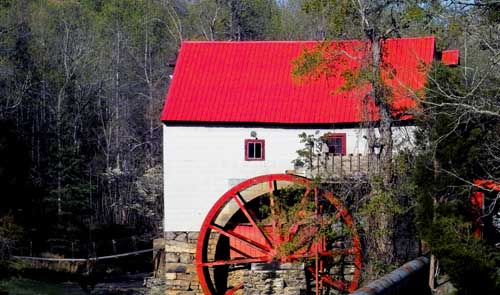 grist mill with RED roof