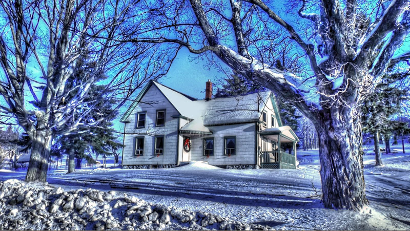 Old house at winter