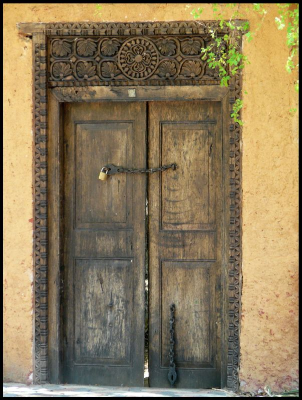 carved door at Prison Island