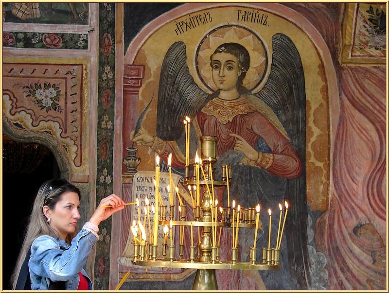 Devoutly at the Troyan Monastery