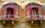 Title: red&white balconies