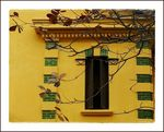 Title: twigs on yellow wall