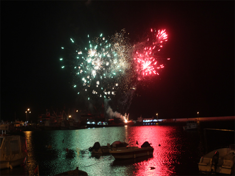 fireworks display over the sea
