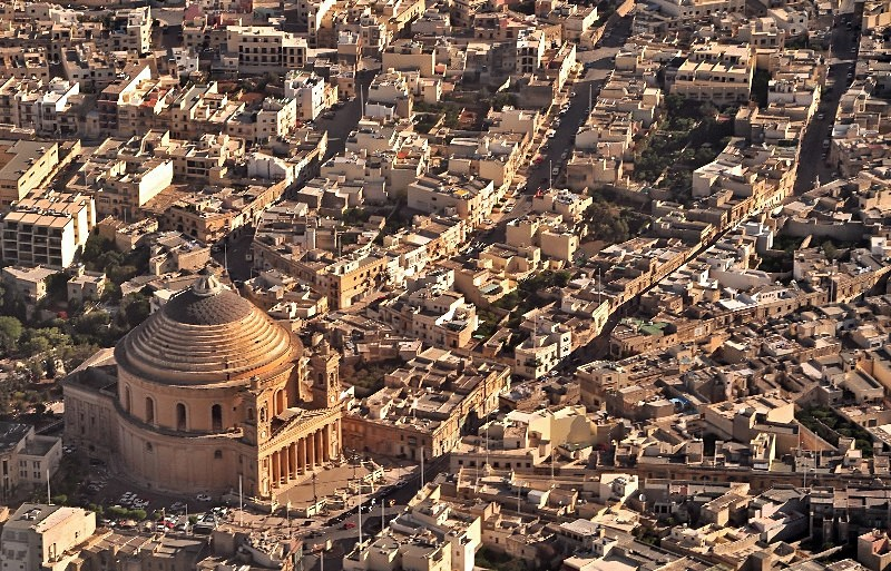 Aerial view of Mosta Rotunda