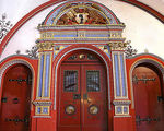 Title: Red Rathaus Doors