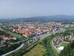 Title: Panorama of Celje, Slovenia.Fuji Finepix S5200