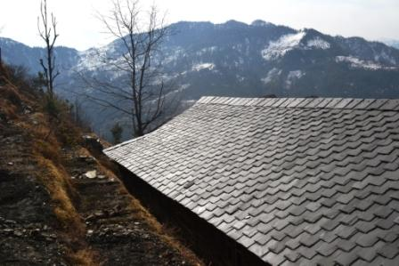 Ethnic roof made from Sliced black stone