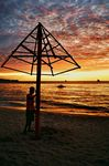 Title: Thatchless Umbrella at SunsetPentax Me Super