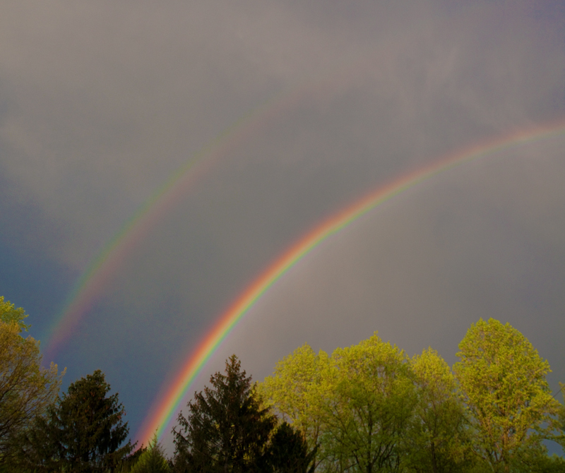 Double-rainbow in the clouds