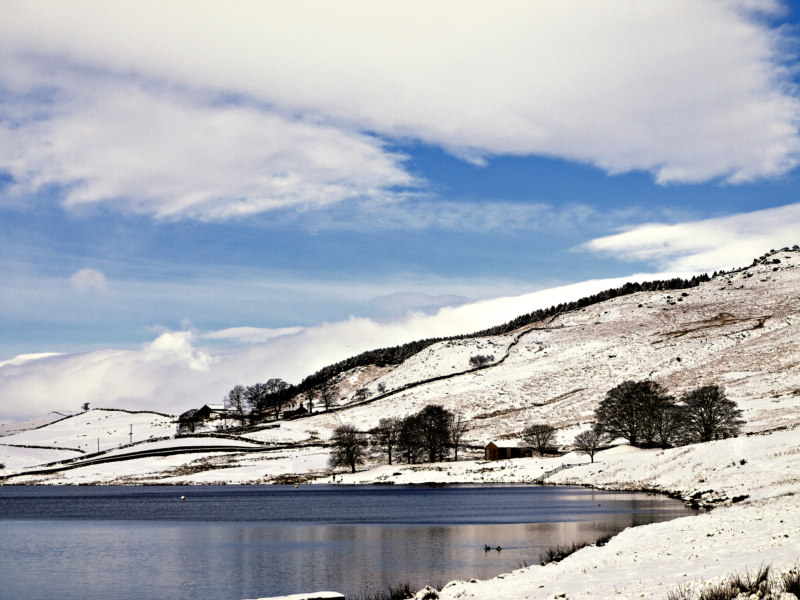 Embsay reservoir and snow...
