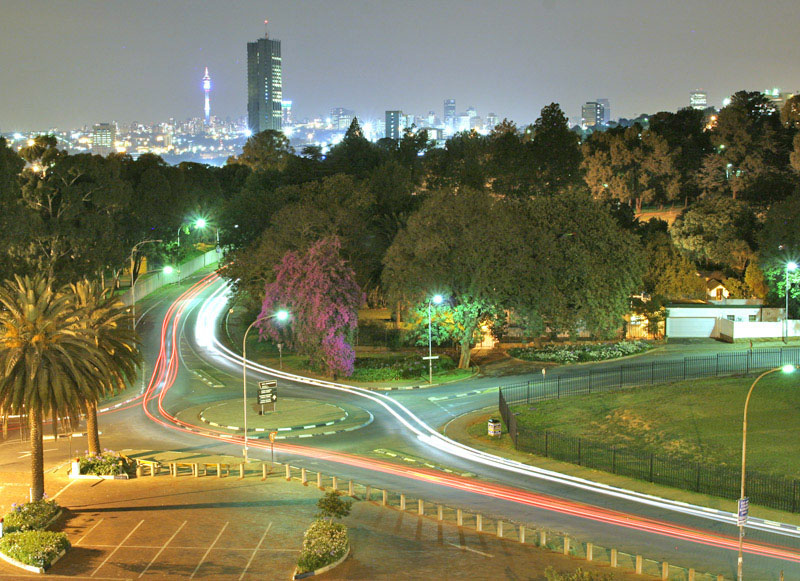 JoBurg Skyline and Light Trails