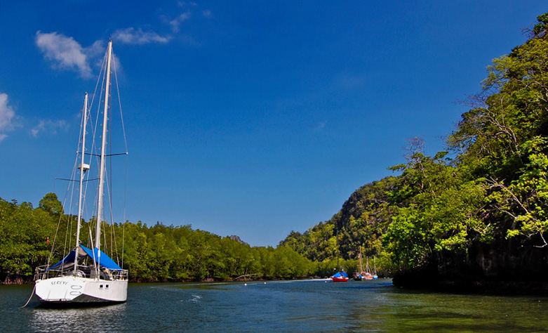 Anchored by the cove